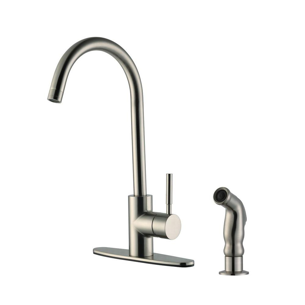 design house springport single handle standard kitchen faucet with side sprayer in satin nickel. Black Bedroom Furniture Sets. Home Design Ideas
