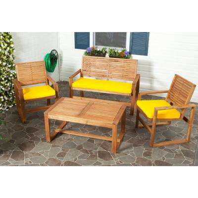 Delicieux Ozark 4 Piece Patio Seating Set With Yellow Cushions