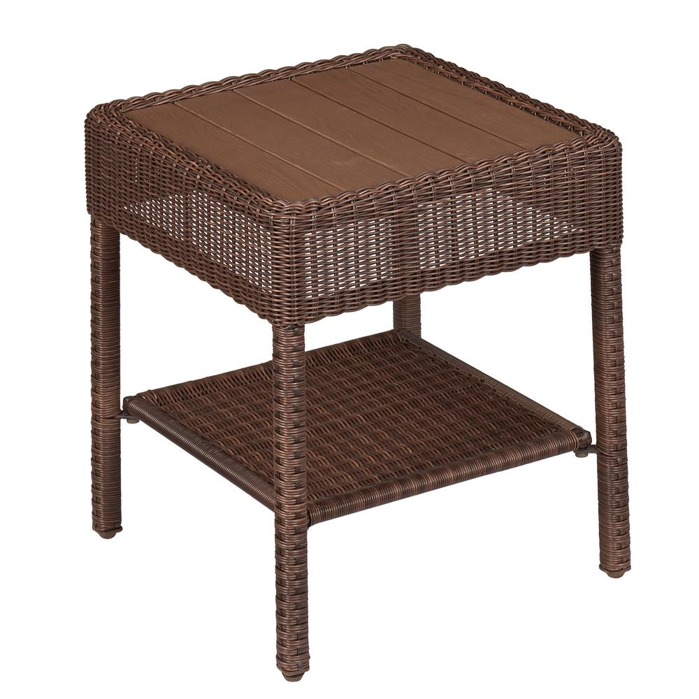 hampton bay park meadows brown wicker outdoor accent table 65 21457 the home depot. Black Bedroom Furniture Sets. Home Design Ideas