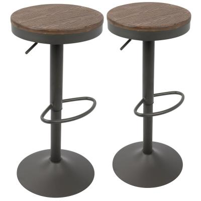 Dakota Grey and Brown Adjustable Bar Stool (Set of 2)