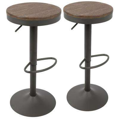 Dakota Grey and Brown Adjustable Barstool (Set of 2)