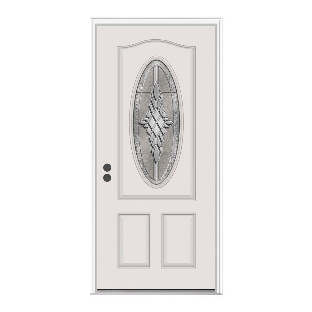 36 in. x 80 in. 3/4 Oval Lite Hadley Primed Fiberglass Prehung Right-Hand Inswing Front Door w/Brickmould