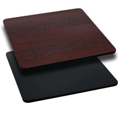 42 in. Square Black and Mahogany Table Top with Reversible Laminate Top