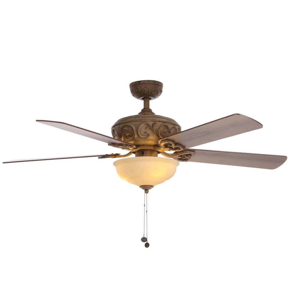 hampton bay palisades 52 in. led indoor tuscan bisque ceiling fan