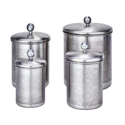 "4-Piece 4 Qt, 3 Qt. and 2 Qt. Brushed Nickel ""Floral"" Canister Set"