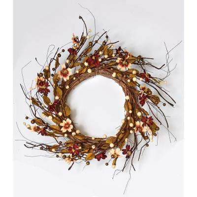 24 in. Fall Berry and Dogwood Wreath on Natural Twig Base