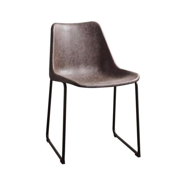 Amelia 2 Pcs. Vintage Mocha & Black Metal Side Chair