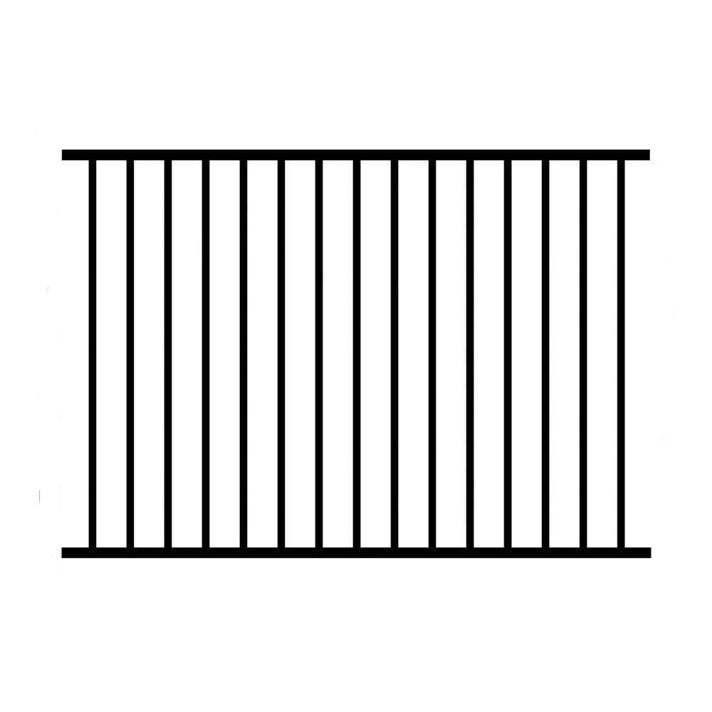 Allure Aluminum 4 ft. H x 6 ft. W Aluminum Black Unassembled Metropolitan 2-Rail Fence Sections (4-Pack)