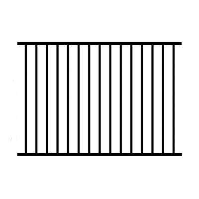 3 ft. H x 6 ft. W Black Aluminum 2-Rail Unassembled Metropolitan Fence Panel (4-Pack)