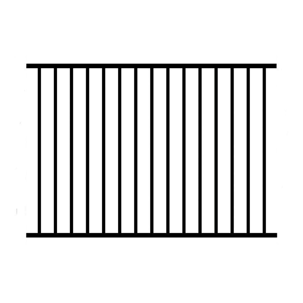 4 ft. x 6 ft. Black Assembled Metropolitan Style 2-Rail Fence Panel (3-Pack)