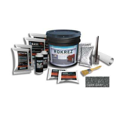 230 oz. Dark Gray Gloss 2.5 Car Garage Industrial Epoxy Floor Kit 2 Component 100% Solids All-In-One DIY Kit
