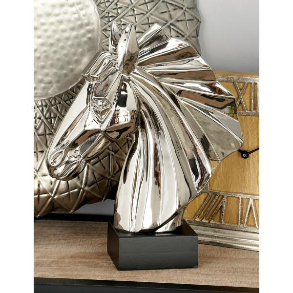 Litton Lane Ceramic Stylized Horse Head Sculpture 96722