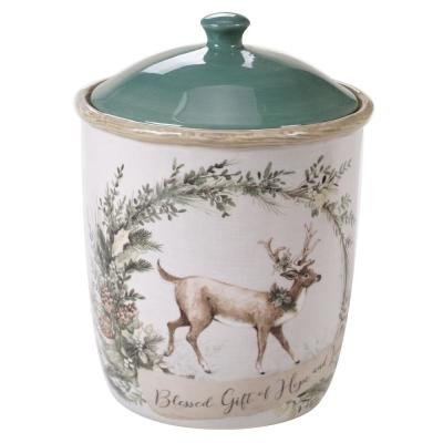 Holly and Ivy Multi-Colored 9.5 in. Biscotti Jar