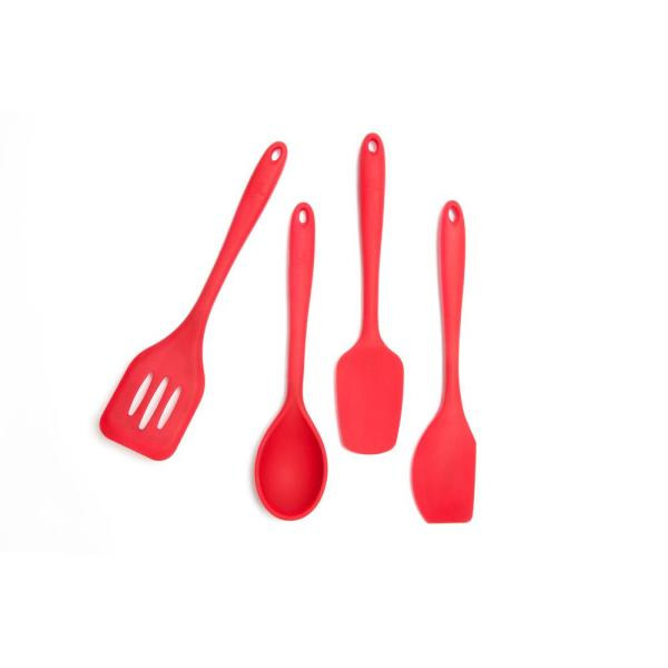 Core Kitchen - Essential Silicone Red Utensils (Set of 4)