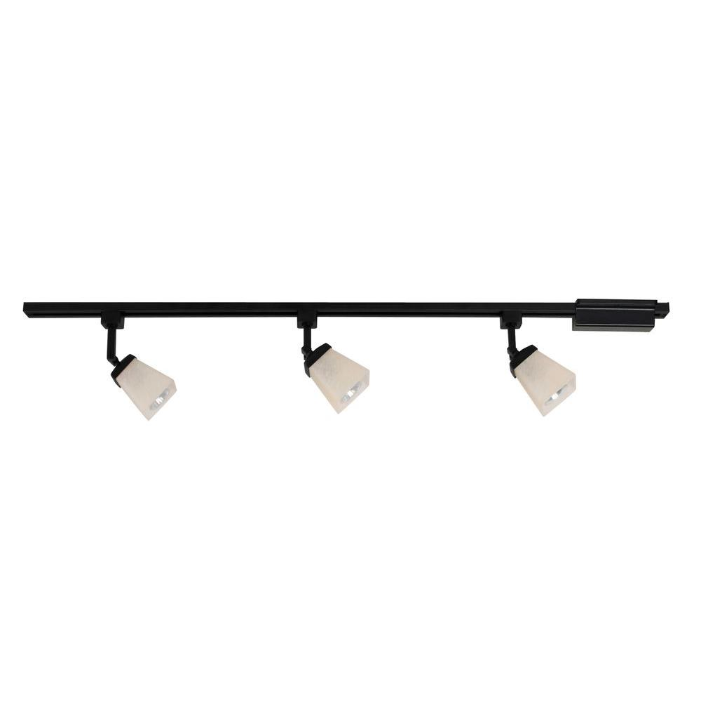 Hampton Bay 3 Light Matte Black Linen Glass Linear Track Lighting Kit
