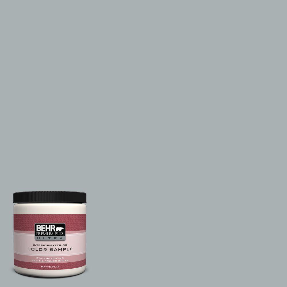 BEHR Premium Plus Ultra 8 oz. #730F-4 Flint Smoke Matte Interior/Exterior Paint and Primer in One Sample