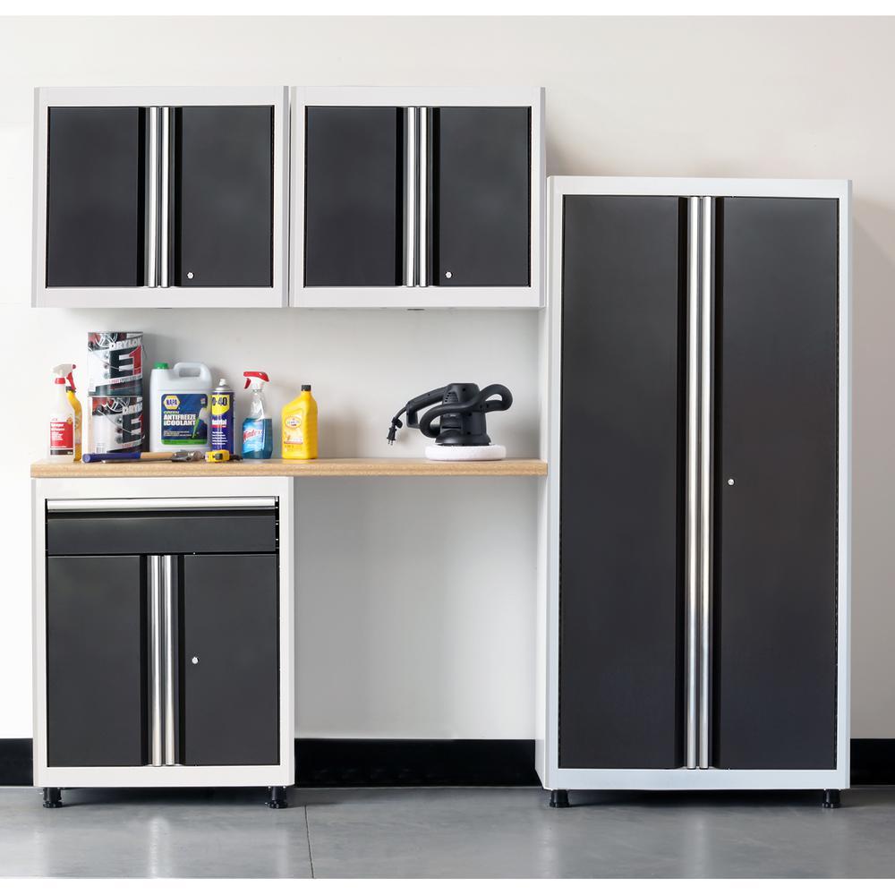 75 in. H x 96 in. W x 18 in. D Welded Steel Garage Cabinet Set in White/Charcoal (5-Piece)