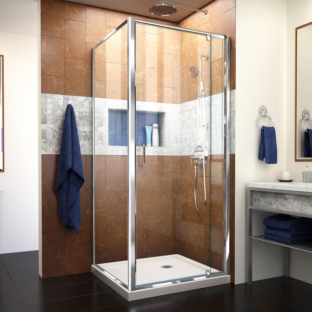 Flex 32 in. x 32 in. x 74.75 in. Framed Corner Pivot Shower Enclosure in Chrome and Biscuit Corner Shower Base