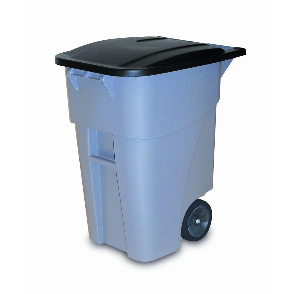 rubbermaid commercial products brute 50 gal grey rollout trash can