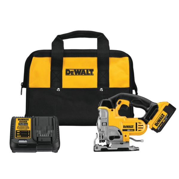 20-Volt MAX Lithium-Ion Cordless Jig Saw Kit with Battery 4Ah, Charger and Bag