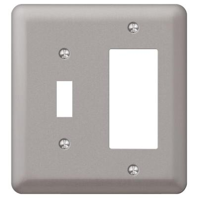 Declan 2 Gang 1-Toggle and 1-Rocker Steel Wall Plate - Pewter