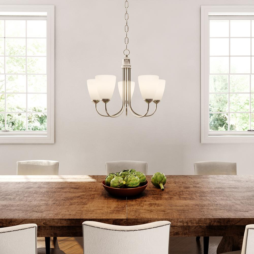Progress Lighting Gather 20 5 In Light Brushed Nickel Dining Room Chandelier With Etched Gl