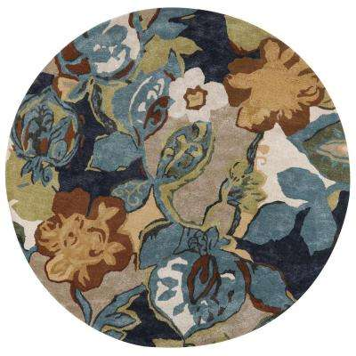 Balcony Navy Green 8 Ft X Round Area Rug