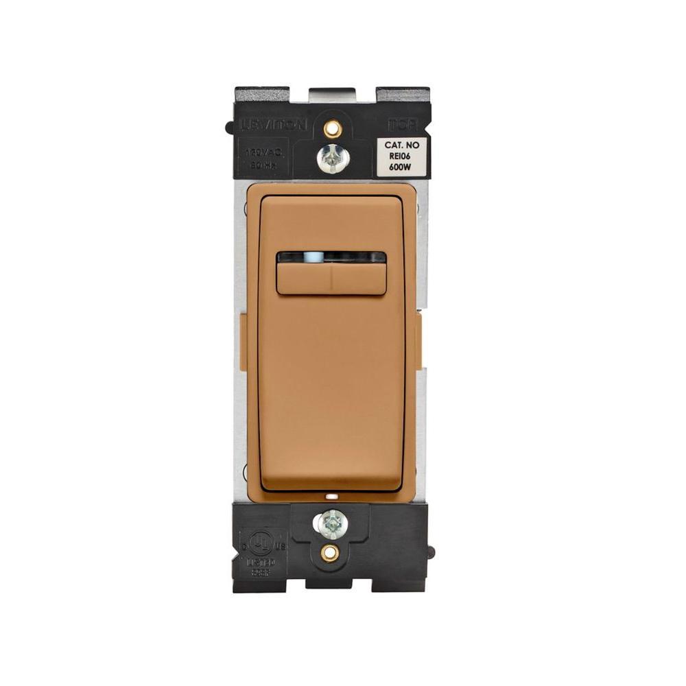 Leviton Renu 600-Watt Single Pole Slide Dimmer - Warm Caramel-DISCONTINUED