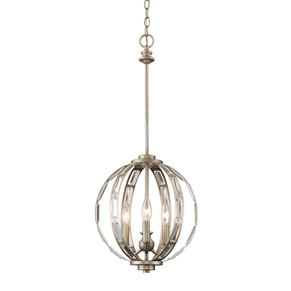 Monteaux Lighting 3 Light Antique Silver And Crystal Pendant