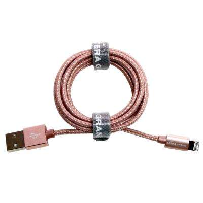4 ft. Apple MFi Certified Lightning to USB Braided Cable with Aluminum Housing, Rose Gold