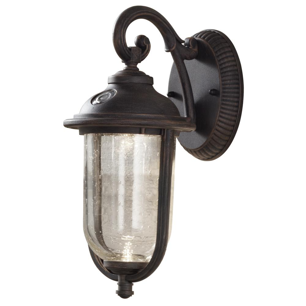 H&ton Bay Perdido Rustic Bronze Outdoor Integrated LED 6 in. Wall Mount Lantern with Photocell  sc 1 st  Home Depot & Hampton Bay Perdido Rustic Bronze Outdoor Integrated LED 6 in. Wall ...