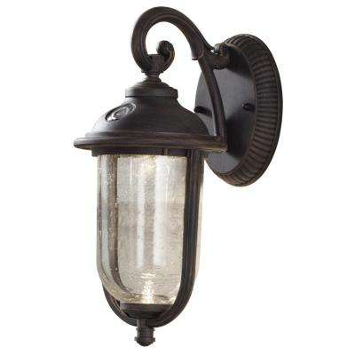 Dusk to dawn outdoor wall mounted lighting outdoor lighting perdido rustic bronze outdoor integrated led 6 in wall mount lantern with photocell aloadofball Choice Image