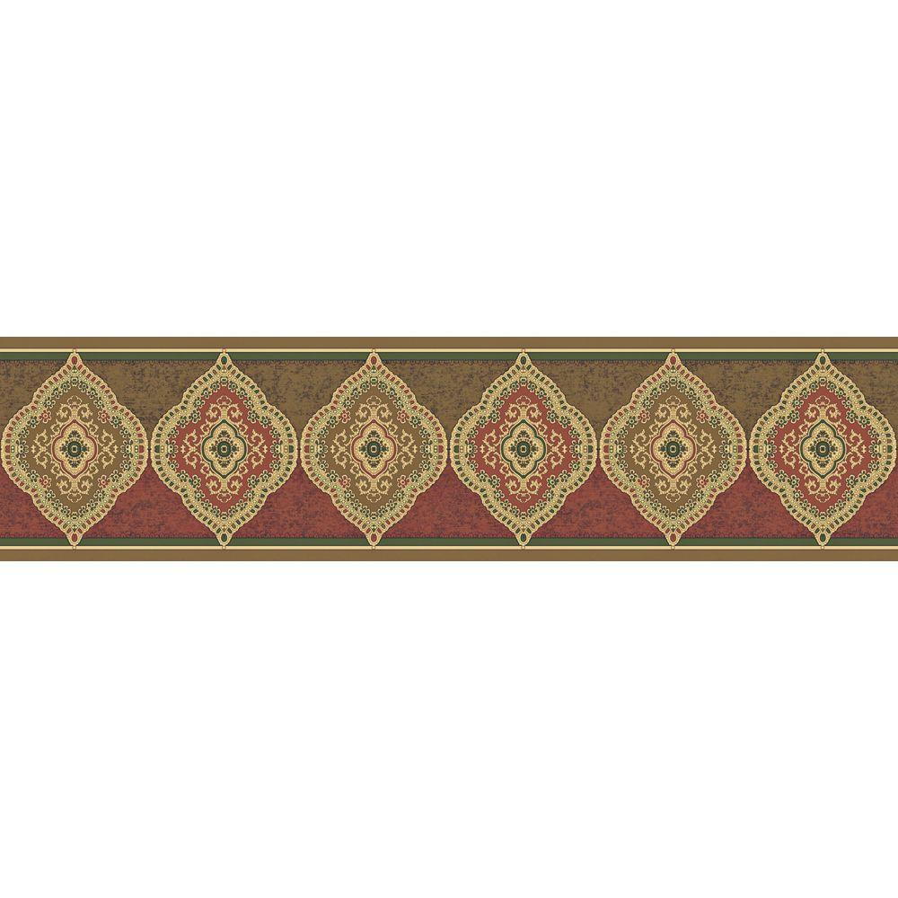 The Wallpaper Company 8 in. x 10 in. Red and Brown Earth Tone Traditional Paisley Border Sample-DISCONTINUED