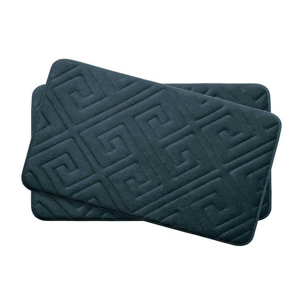 Caicos Slate Teal 17 in. x 24 in. Memory Foam 2-Piece Bath Mat Set