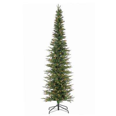 7.5 ft. Natural Cut Narrow Lincoln Pine Artificial Christmas Tree with 300 Clear Lights