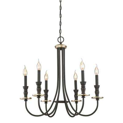 Cresting 6-Light Oil Rubbed Bronze with Antique Brass Accents Chandelier