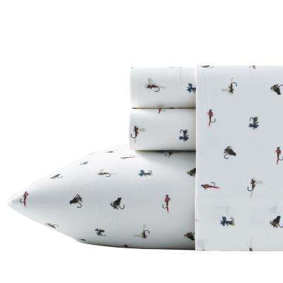 Fishing Flies 3-Piece White 200 Thread Count Twin Sheet Set