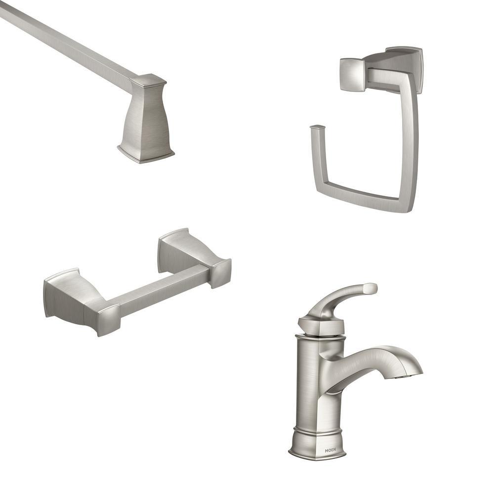 MOEN Hensley Single Hole Single-Handle Bathroom Faucet with 3-Piece Bath Hardware Set in Spot Resist Brushed Nickel