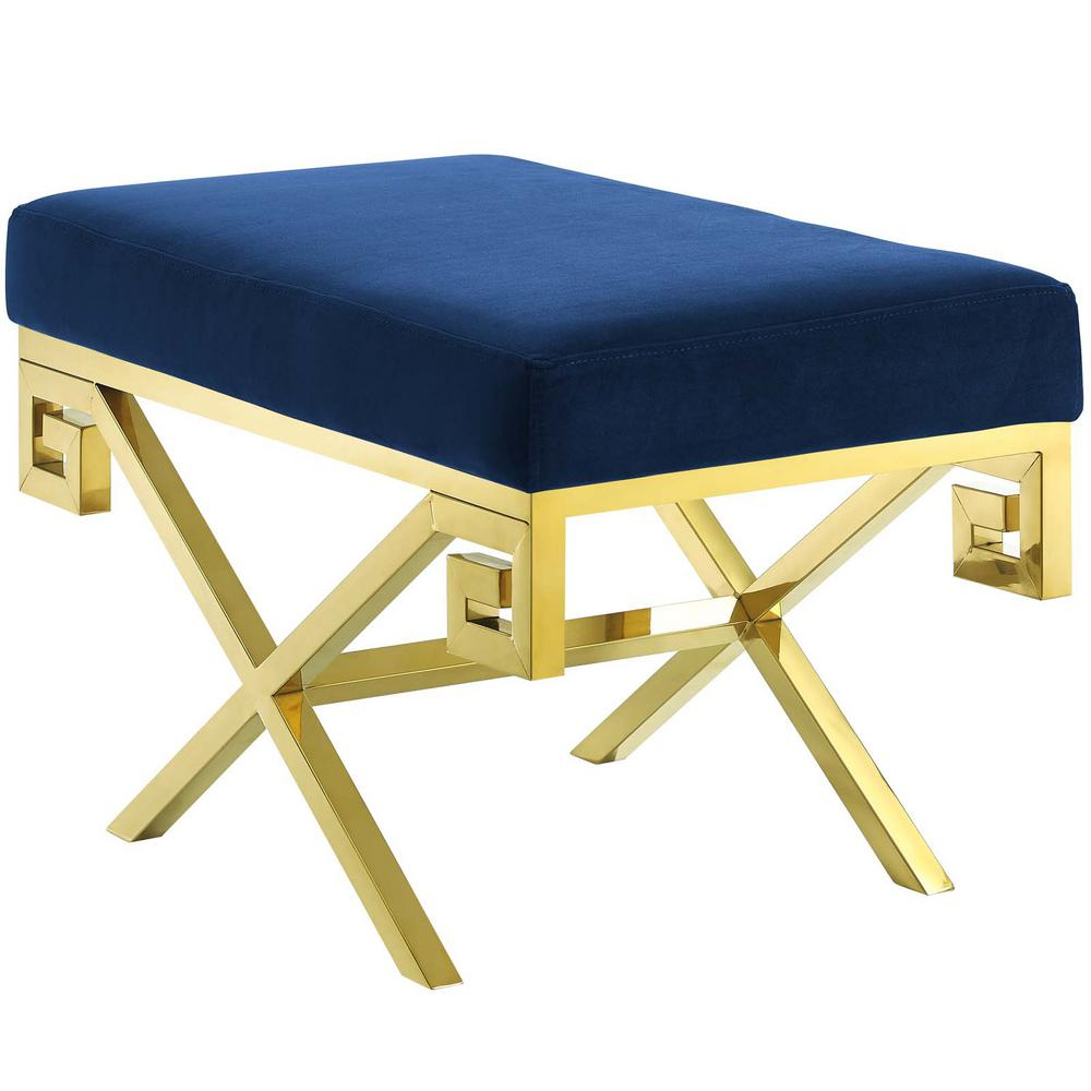 Gold Navy Rove Velvet Bench