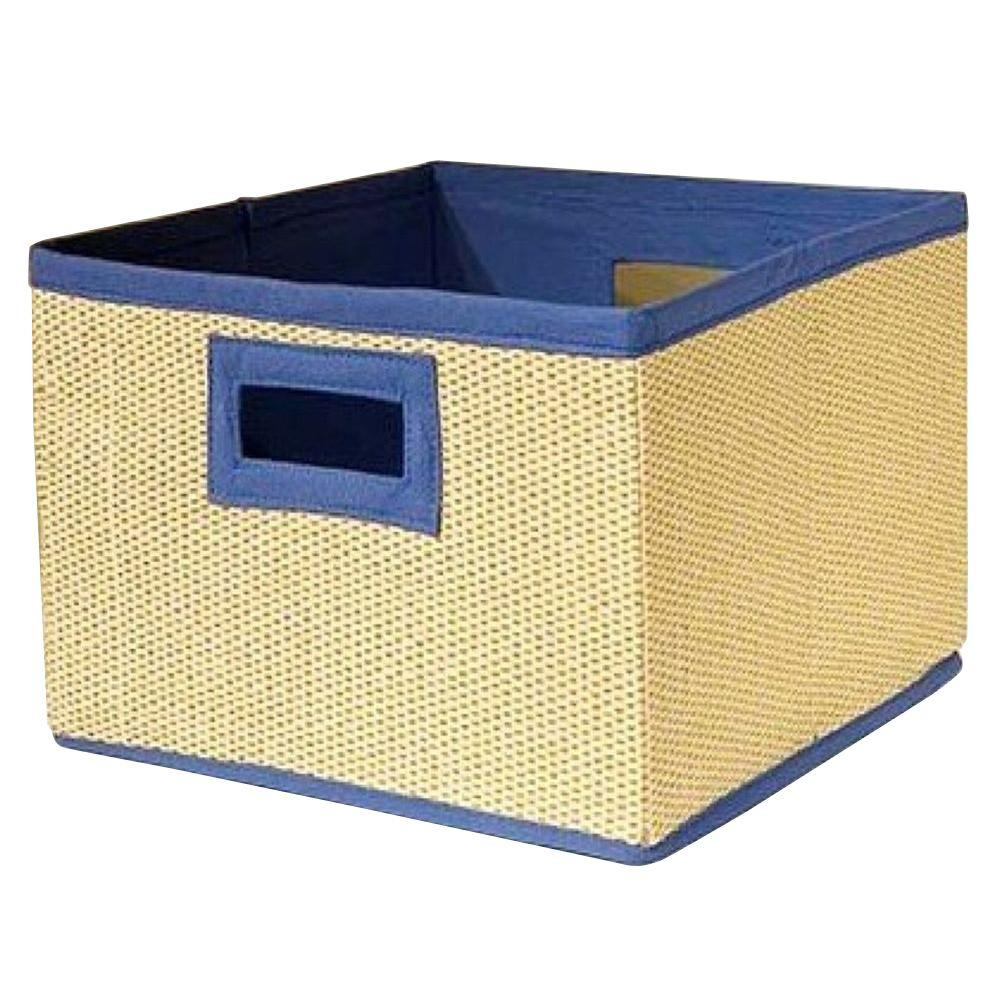 13 in. x 8 in. Wood Fiber Cream and Blue Storage
