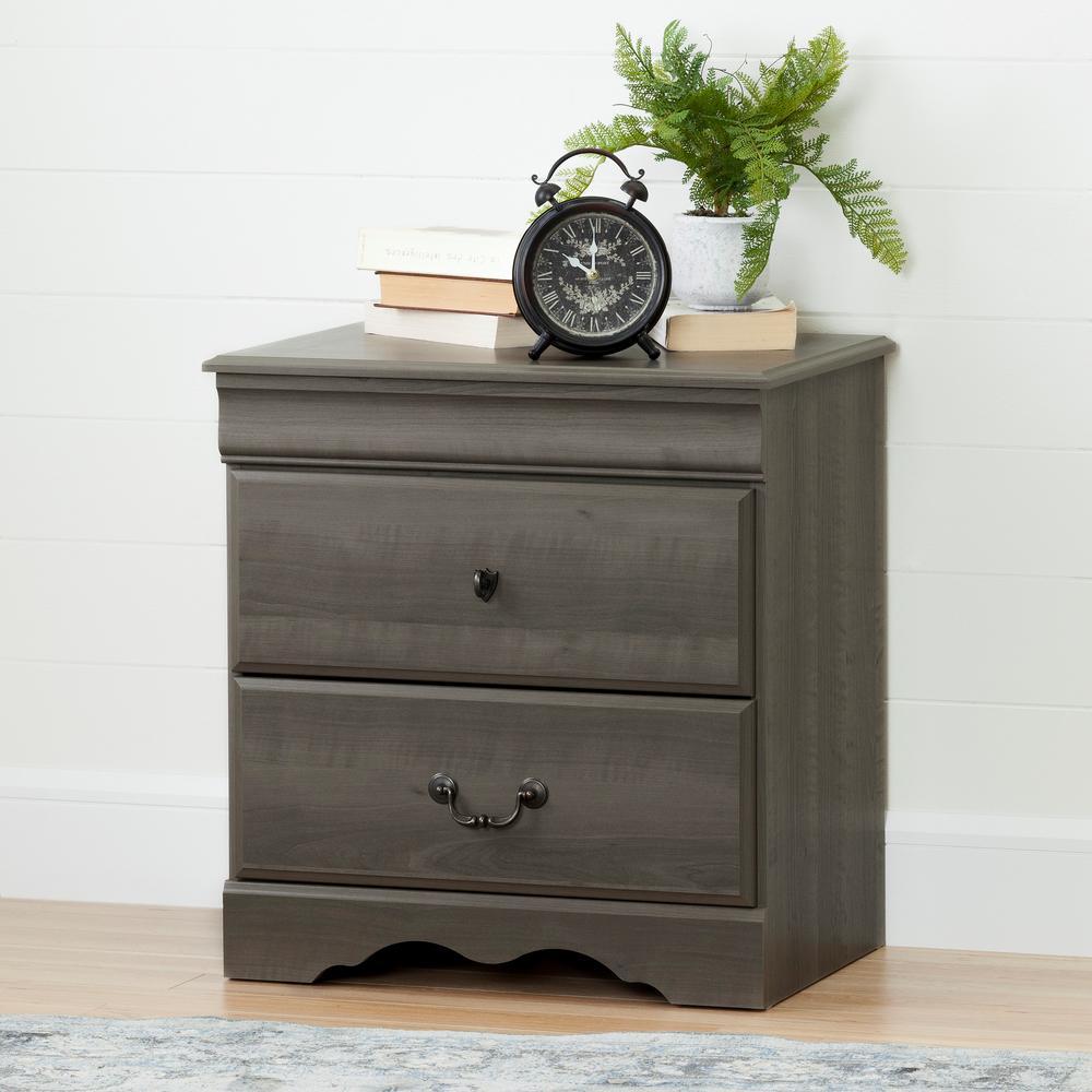 Vintage 2-Drawer Gray Maple Nightstand