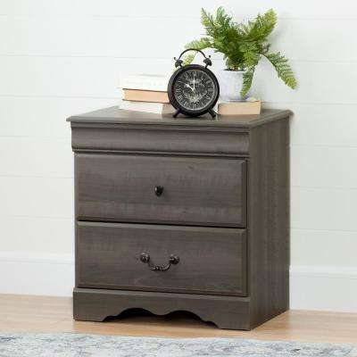 Vintage 2-Drawer Gray Maple Nightstand
