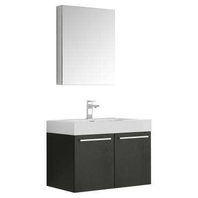 Vista 30 in. Vanity in Black with Acrylic Vanity Top in White with White Basin and Mirrored Medicine Cabinet