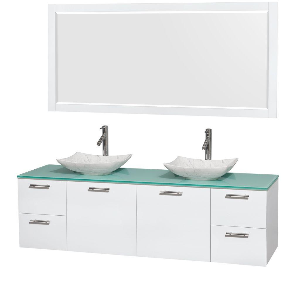 Amare 72 in. Double Vanity Cabinet in Glossy White with Glass