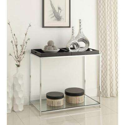 Palm Beach Glass and Chrome Console Table