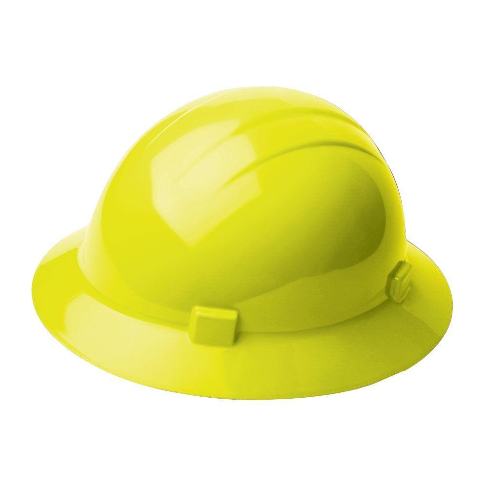 4 Point Nylon Suspension Mega Ratchet Full Brim Hard Hat in Hi Viz Yellow