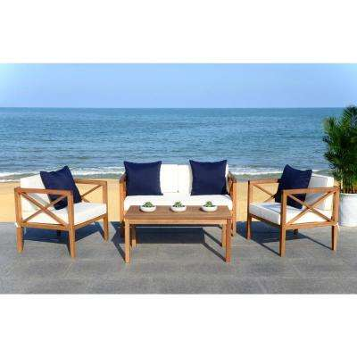 Nunzio Natural 4-Piece Wood Patio Conversation Set with White/Navy Cushions