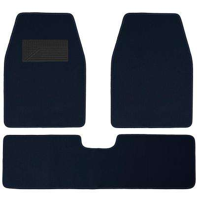 Solid Blue 3-Piece 26.5 in. x  19.3 in. Floor Mats