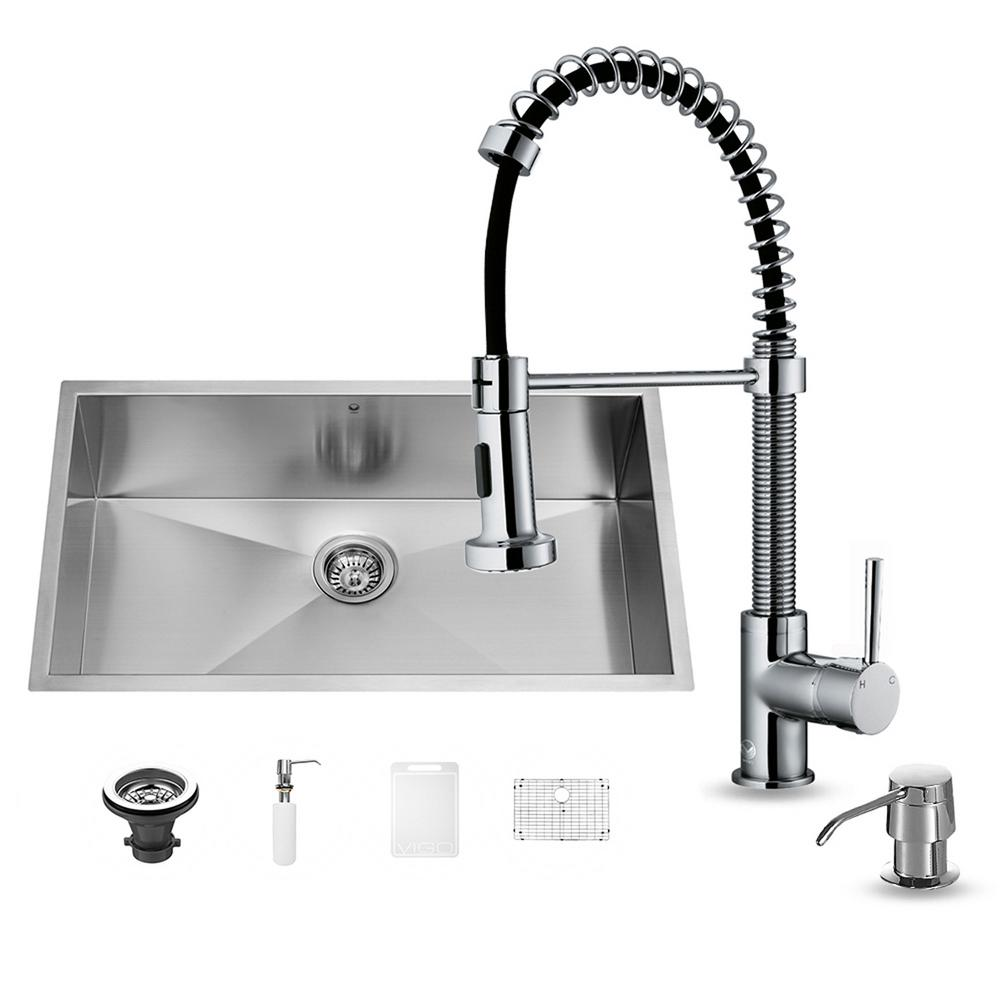 All-in-One Undermount Stainless Steel 32 in. 0-Hole Single Bowl Kitchen Sink