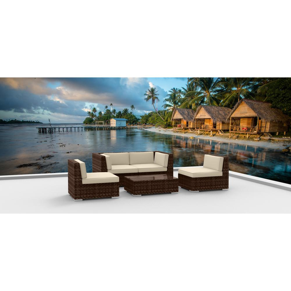 Urban Furnishing Brown Series 5-Piece Wicker Outdoor Sectional Seating Set with Beige Cushions